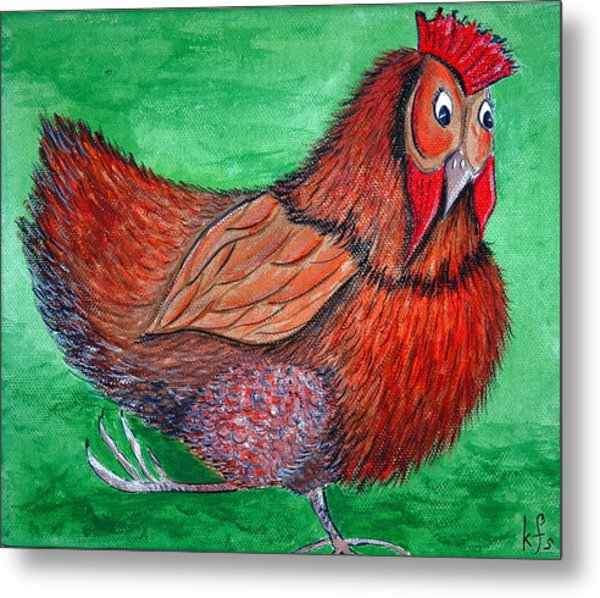 Mrs Chicken Metal Print