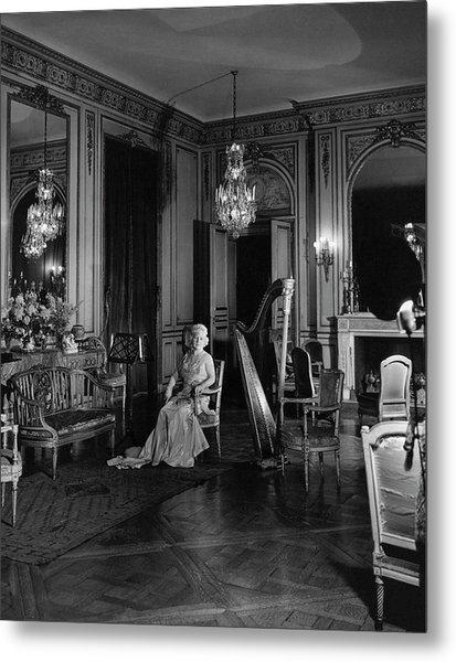 Mrs. Cornelius Sitting In A Lavish Music Room Metal Print by Cecil Beaton