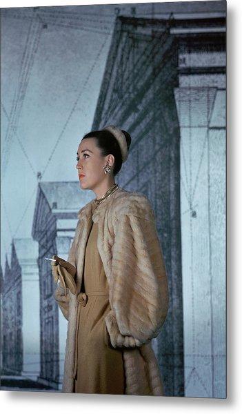 Mrs. Hugh Chisholm Wearing A Fur Coat Metal Print by John Rawlings