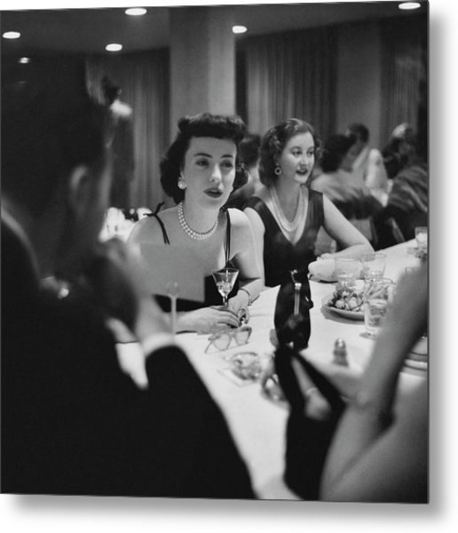 Mrs. Sidney Wood And Mrs. Stass Reed Sitting Metal Print by Clifford Coffin
