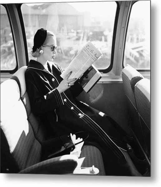 Mrs. William Mcmanus Reading On A Train Metal Print