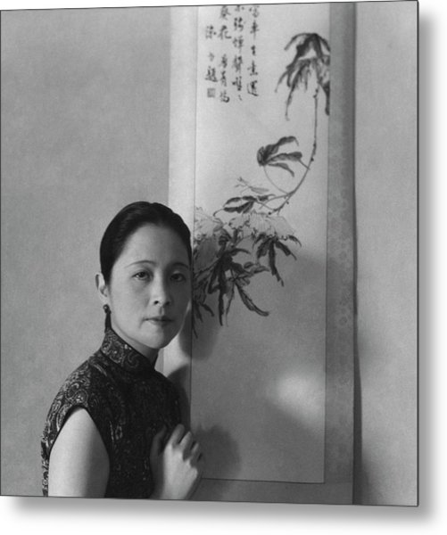 Mrs. Wu Kuo-cheng Posing By Calligraphy Art Metal Print