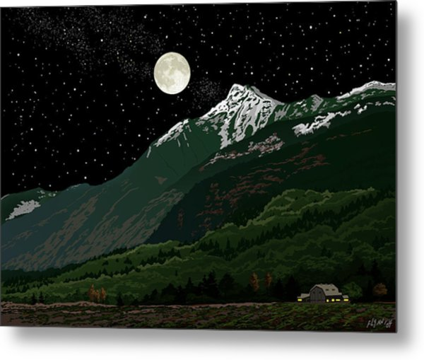 Mt Cheam In Moonlight Metal Print