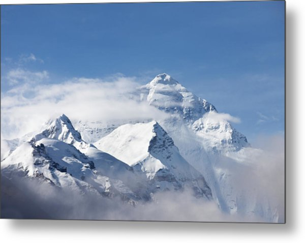 Mt Everest, From Mt Everest Base Camp Metal Print by Sean Caffrey