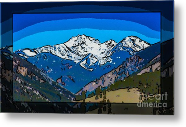 Mt Gardner In The Spring Abstract Painting  Metal Print