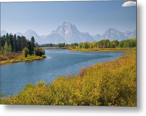 Mt Moran And Snake River Seen From Metal Print by Glenn Van Der Knijff