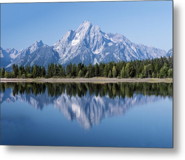 Mt. Moran At Grand Tetons With Reflection In Lake Metal Print