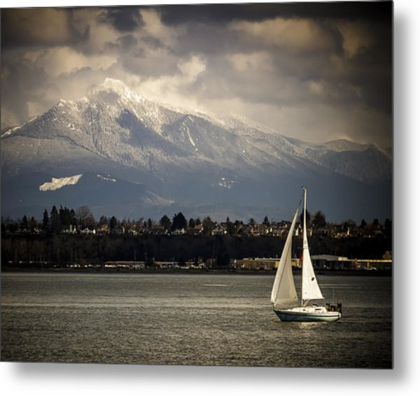 Mt Philchuck And Sailboat Metal Print