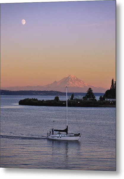 Mt. Rainier Afterglow Metal Print