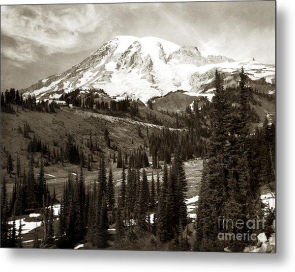 Mt. Rainier And Paradise Lodge In Sepia 1950 Metal Print