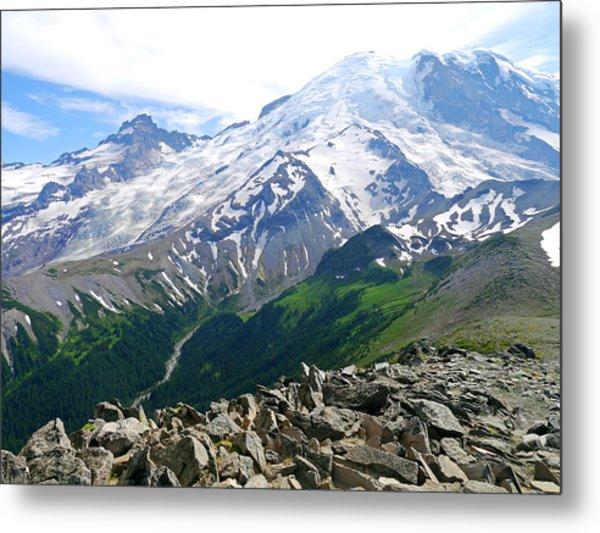 Mt Rainier From Sunrise Metal Print