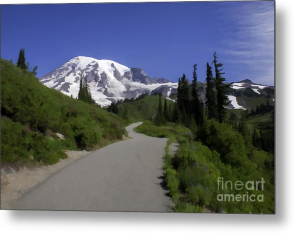 Mt Rainier Painted Metal Print
