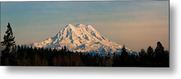 Mt Rainier Winter Panorama Metal Print