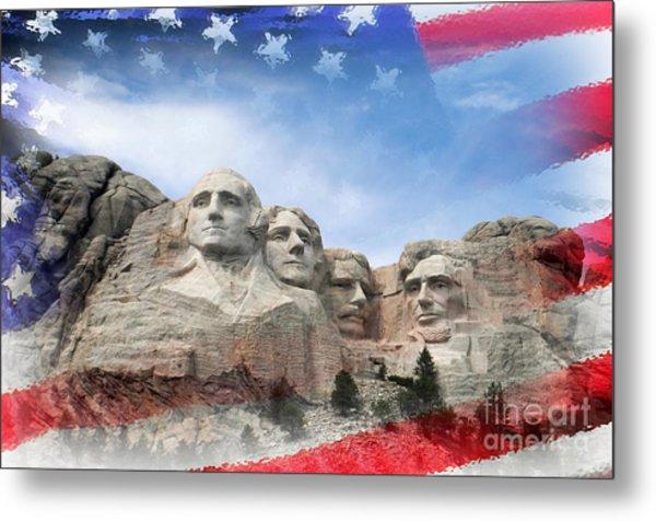 Mt Rushmore Flag Frame Metal Print