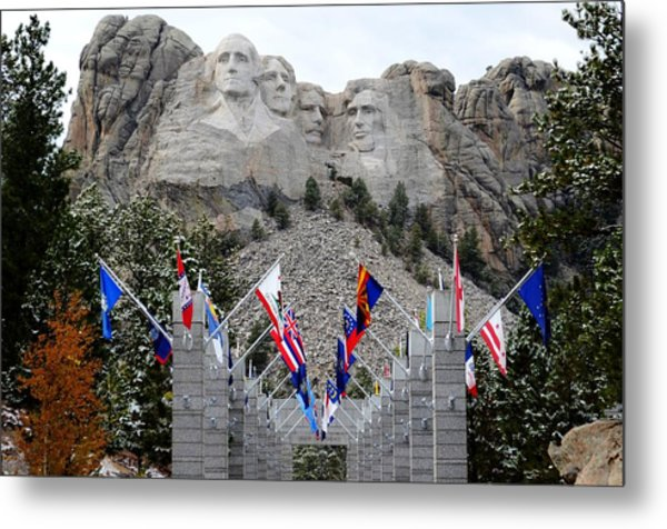 Mount Rushmore Flagway  Metal Print