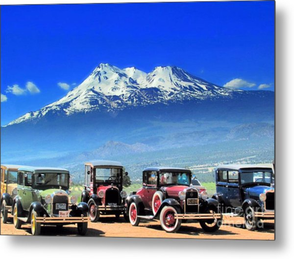 Mt. Shasta And Retro Cars  Metal Print