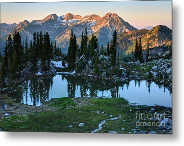 Mt. Timpanogos At Sunrise From Silver Glance Lake Metal Print