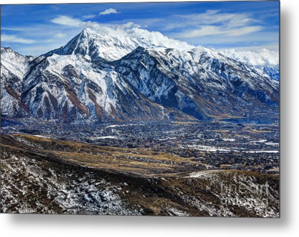 Mt. Timpanogos In Winter From Utah Valley Metal Print