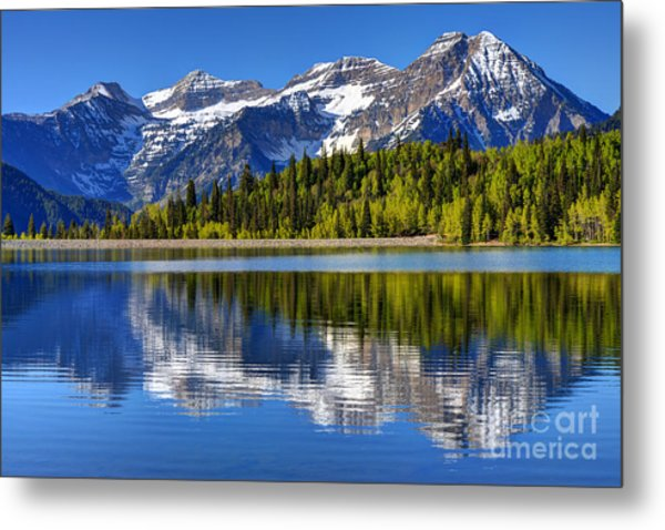 Mt. Timpanogos Reflected In Silver Flat Reservoir - Utah Metal Print