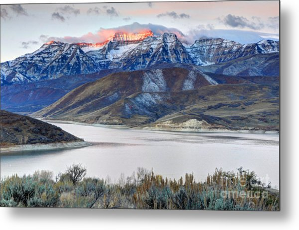Mt. Timpanogos Winter Sunrise Metal Print