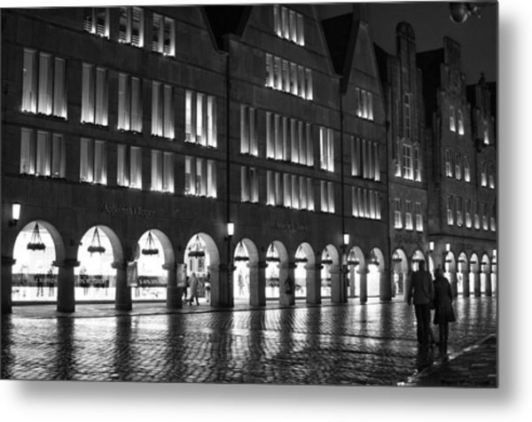 Cobblestone Night Walk In The Town Metal Print