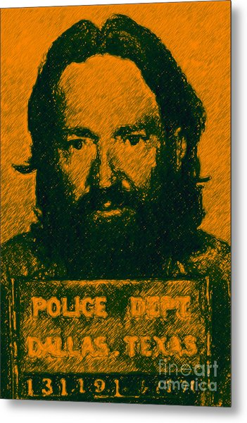 Mugshot Willie Nelson P0 Metal Print