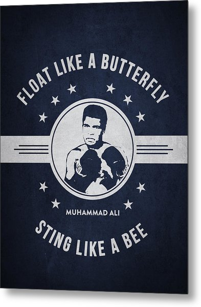 Muhammad Ali - Navy Blue Metal Print