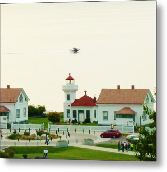 Mukilteo Lighthouse And The Lone Speedboat Metal Print