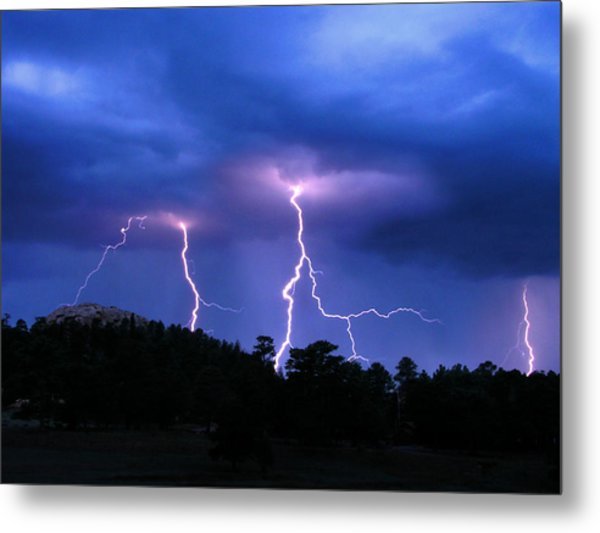 Multi Arc Lightning Strike Metal Print