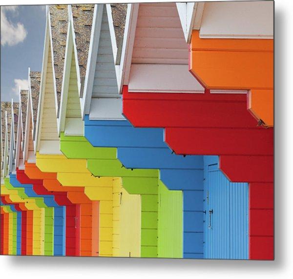 Multi Coloured Beach Huts Metal Print by Kim Haddon Photography