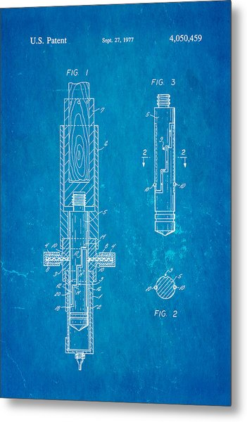 Multi Drug Vetinary Hypodermic Syringe Patent Art 1977 Blueprint Metal Print