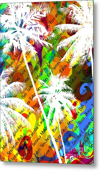 Multicolor Abstract Tropical Background Metal Print