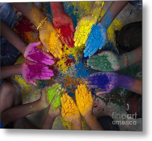 Multicoloured Hands Metal Print