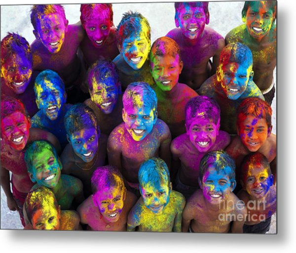 Multicoloured Happy Faces Metal Print by Tim Gainey