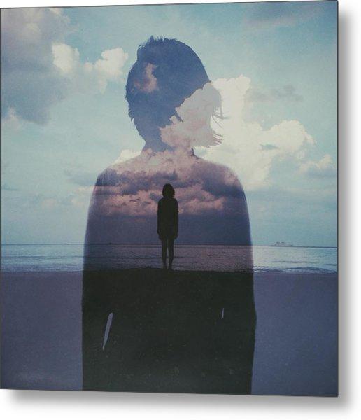 Multiple Exposure Of Woman On Beach Metal Print by Chen Liu / Eyeem