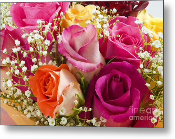 Multiple Roses Arrangement Metal Print