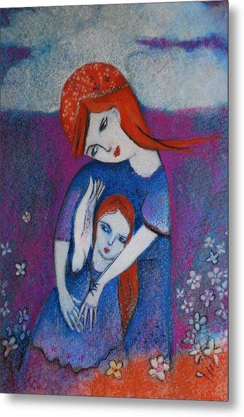 Mum Bird And Me Metal Print by Deirdre Gillespie