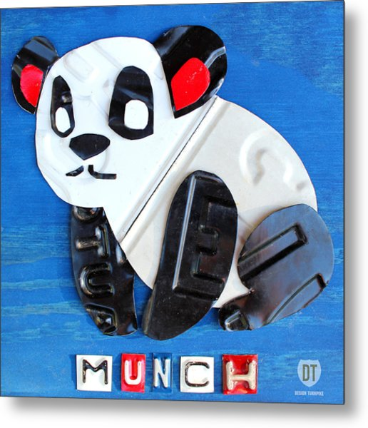 Munch The Panda License Plate Art Metal Print