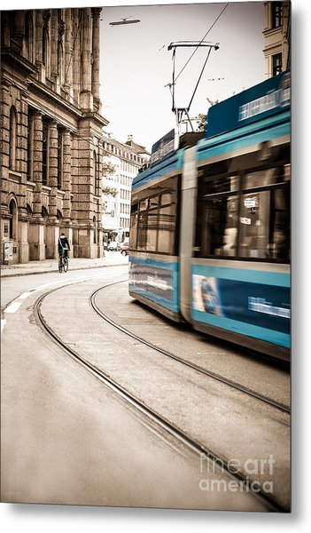 Munich City Traffic Metal Print