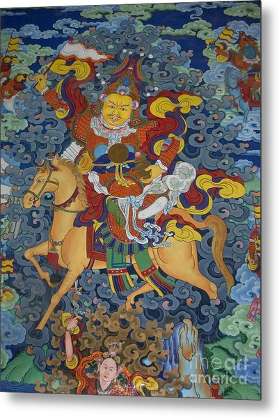 Mural Of Ling Kesar - Litang Chode Monastery Metal Print