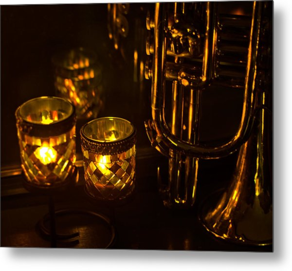 Trumpet And Candlelight Metal Print