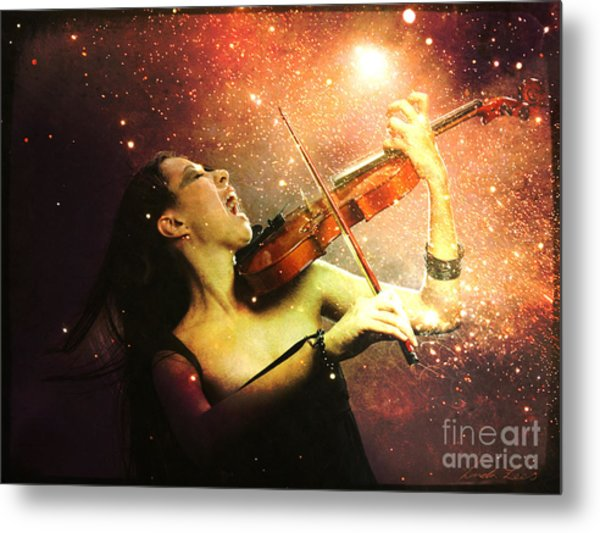 Music Explodes In The Night Metal Print