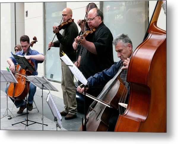 Music On The Street- Strings Metal Print