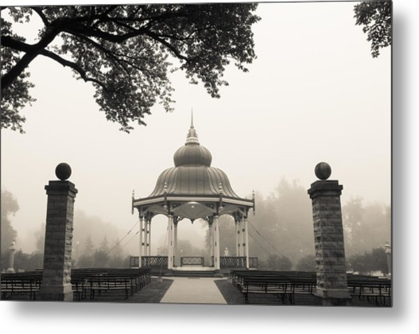 Music Stand In Fog Metal Print