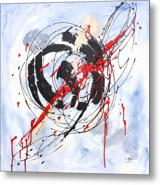 Metal Print featuring the painting Musical Abstract 002 by Cristina Stefan