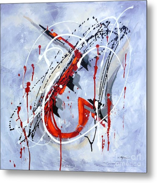 Metal Print featuring the painting Musical Abstract 005 by Cristina Stefan