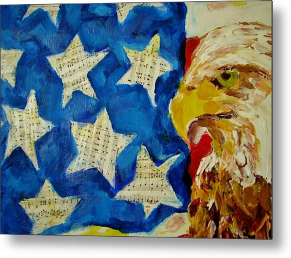 Musical Flag Stars Metal Print by Kat Griffin