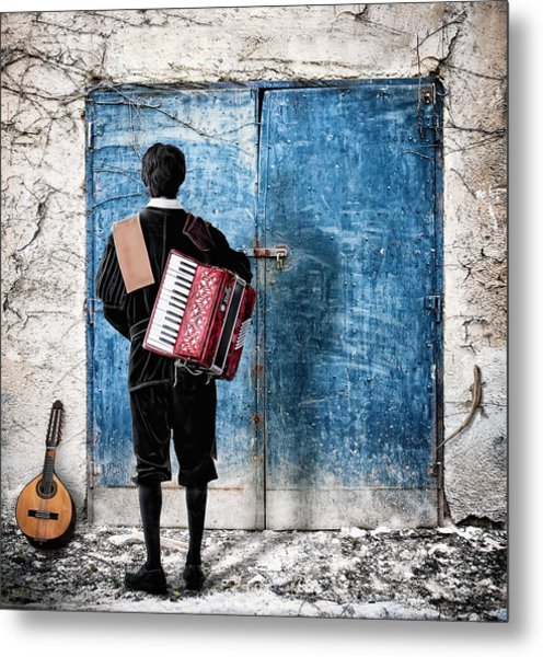 Musician At The Door Metal Print by Nermin Smajic