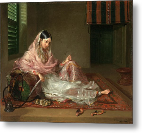 Muslim Lady Reclining An Indian Girl With A Hookah Metal Print