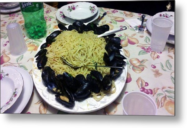 Mussels And Pasta Metal Print